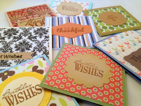 "Set of 8 Handmade Mini 3x3"" Note Cards - Variety of Colors, Patterns, Messages - ANYTIME all OCCASION TAGS"