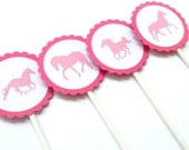 12 Pink Horse Cupcake Toppers. Horse Party. Horse Riding. Pink Horse Birthday. Girl Birthday.