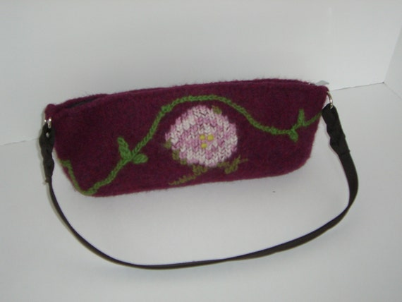 Small burgundy purse with rose embroidery by patshatsandbags