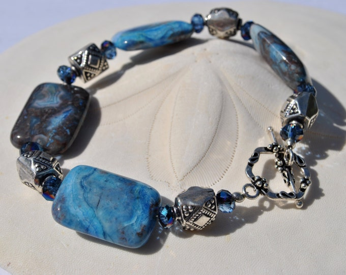 Blue Crazy Lace stone bracelet with Bali sterling silver beads and crystals