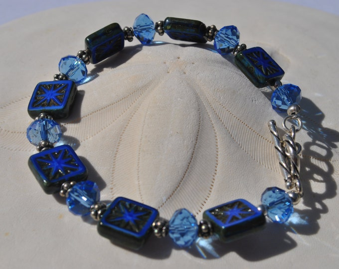 Intricately carved denim blue Czech glass and cystal bracelet set, Cobalt blue bracelet