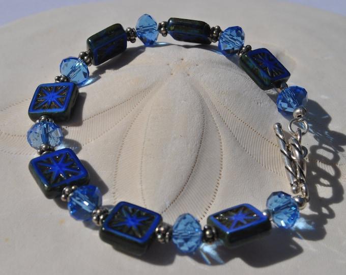 Intricately carved denim blue Czech glass and cystal bracelet set, Cobalt blue bracelet