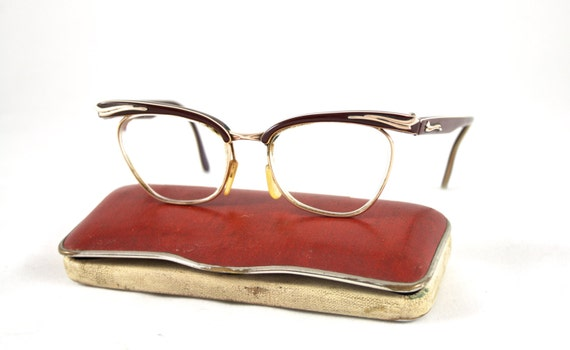 Vintage 1950s Cat Eye Glasses Frames Retro Display Glasses Nerd Eyewear Case Holder Europe