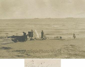 Caspian Sea women on shore antique photo