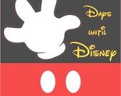 "Days until Disney Black/Red 7"" x 5.5"" Wood Block"
