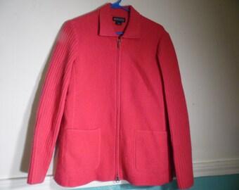 Vintage Lands' End Cardigan  Wool Sweater Jacket Fushia Size 10 Zipper Front