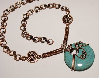 turquoise necklace-copper wire wrapped jewelry handmade
