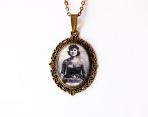 Tattooed Circus Lady Artoria Gibbons - Handmade Vintage Cameo Pendant Necklace
