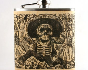 Day of the Dead wood flask vintage art of Jose Guadalupe Posada