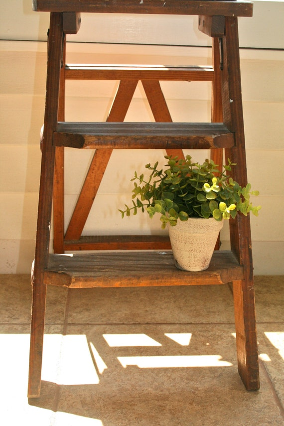 Escabeau Bois Vintage : Antique Wooden Step Ladder