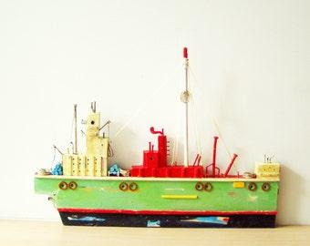 Colourful fishing boat sculpture,Greek folk art, wooden boat sculpture, completely handmade