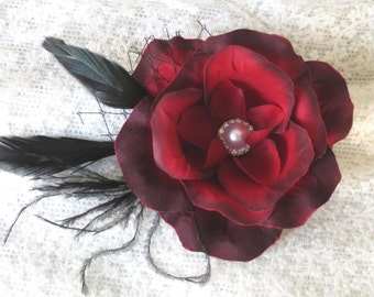Burgundy Wedding Headpiece  Fascinator Wedding Hair Clip  Wedding Accessory Feathers