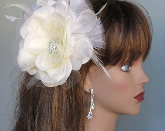 Ivory Bridal Flower Hair Clip Wedding Accessory  Crystals Feathers Bridal Fascinator