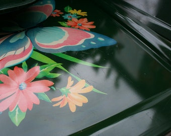 Set of 4 Large Vintage green Rectangular Metal Trays with Butterfly and floral motiflo
