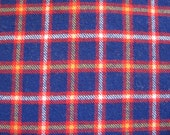 Blue Red Wool Plaid Fabric VINTAGE By the yard