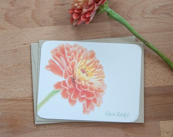 Zinnia Bloom Personalized Stationary, Floral Note Cards, Eco Friendly gift for her