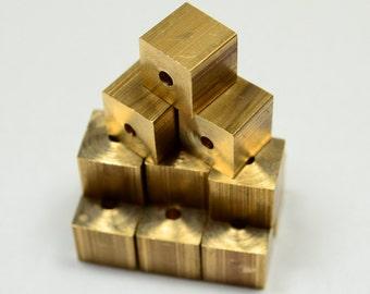 40 Pcs Raw Brass 8 x 8 mm Square Cube  Beads, 2 mm hole