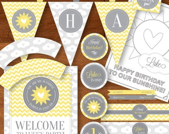 You Are My Sunshine Birthday Party Printable Package - DIY - Yellow Gray / Grey  - Chevron Stripes, Clouds, Hearts - First Birthday