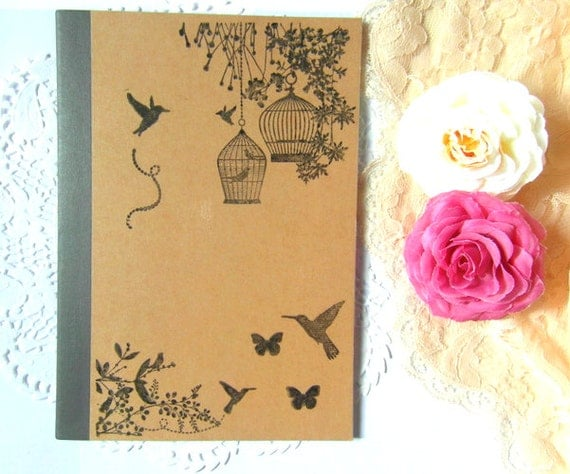 Vintage birdcage Print Lined A5 kraft notebook ...Black