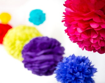 10 x Mini Handmade Tissue Paper Pom Poms - Over 75 Colours - Weddings - Garden Parties - Decorations  - Shop Displays