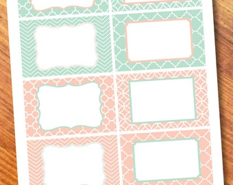 Printable Labels Mint/Coral