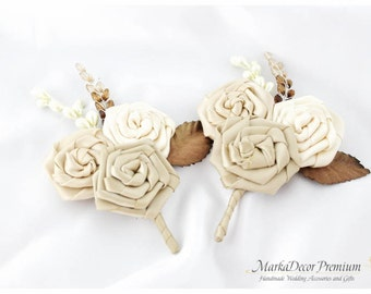 Set of 2 Groomsmen Bridal Boutonnieres Wedding Flower Father Corsages  with Handmade Flowers in Ivory, Champagne, Cream,Tan and Brown