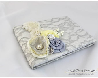 READY TO SHIP Wedding Lace Guest Book Custom Bridal Flower Brooch Guest Books in Ivory, Silver and Maize