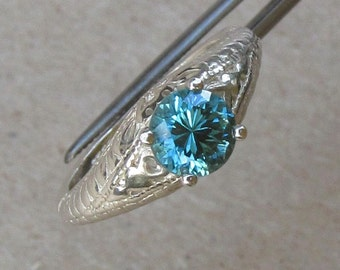 Exceptional Genuine Blue Zircon in Sterling Silver Ring