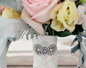 Crystal Bouquet Wrap, Wedding Bouquet, Bridal Bouquet, Wedding Accessories, Bouquet Wrap, Flower Wrap, Wedding Flowers,Brooch Bouquet-MEGHAN