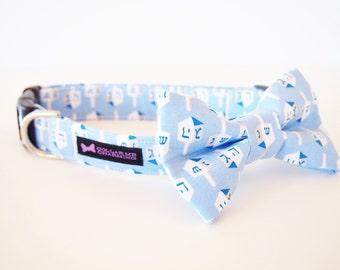 Hanukkah Dog Collar Bow Tie Set Dreidel