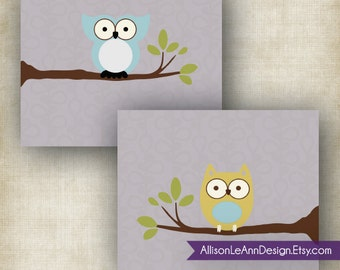 Owls // Treetop Friends // Printable Wall Art // Set of (2) 8x10s // JPEG Files // INSTANT DOWNLOAD