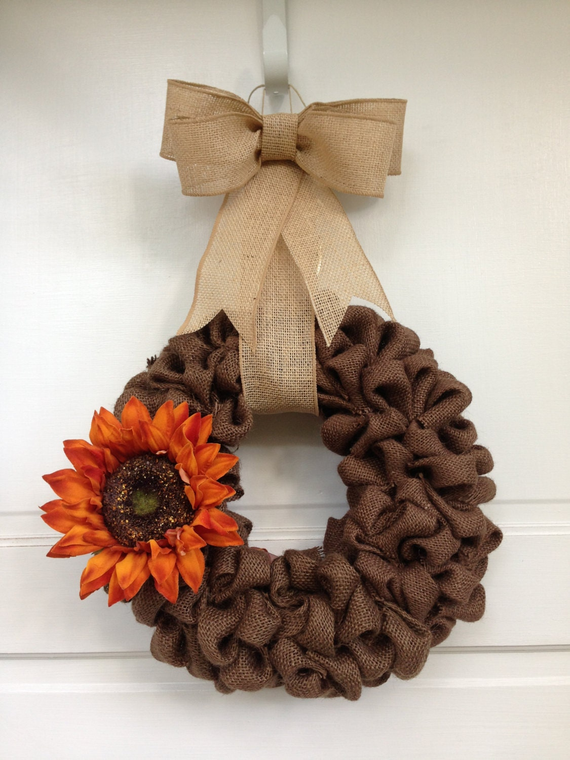 Dark brown burlap wreath with sunflower and light brown burlap for Burlap wreath with lights
