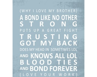 qWords 'why i love my brother' tram scroll print / duck egg blue or black