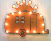 CAMPER TRAILER AIRSTREAM with Crown Glamping Lighted Marquee Sign made of Rusted Recycled Metal Vintage Inspired