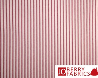 Red and Cream Ticking Fabric