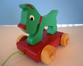 Wooden Scottie Dog Pull Toy - Hand Painted - Classic Toy -  Non Toxic - Eco Friendly Kids Toy