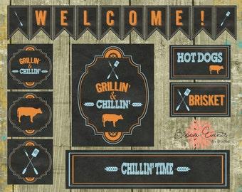 DIY Chillin' & Grillin' Backyard BBQ Party Printable's - chalk board orange blue cow