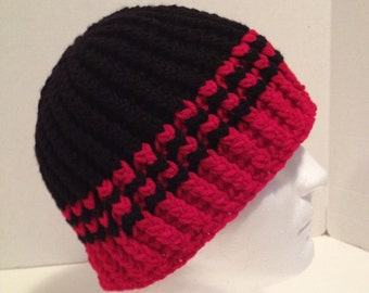 Crochet Beanie, Ribbed, Mens/Teens