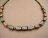 18-inch necklace with unakite stones