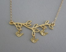Initial Necklace. Personalized Family Jewelry. 3.4.5.6.7.8 Baby Bird Charms.Gold Leaf Branch.Gift for Grandma. Mom.Custom Family Jewelry.