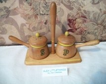 Nasco Wooden Salt Pepper Shakers Vintage Japan Wood Retro Kitchen