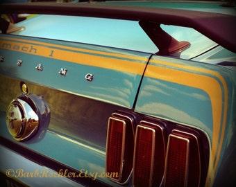 1969 Mustang - Rustic Wall Art - Chrome - Blue - 1960's - Retro Print - Vintage Car Photography - Garage Art - 8x10