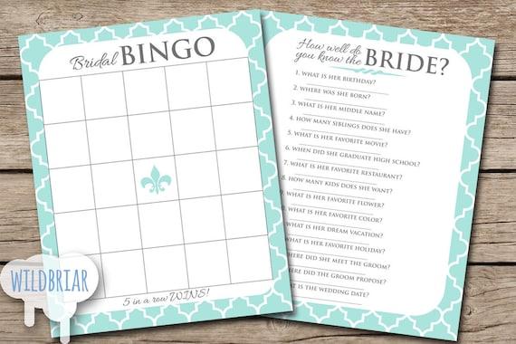 BINGO And Bride Quiz Printable Bridal Shower Party Games