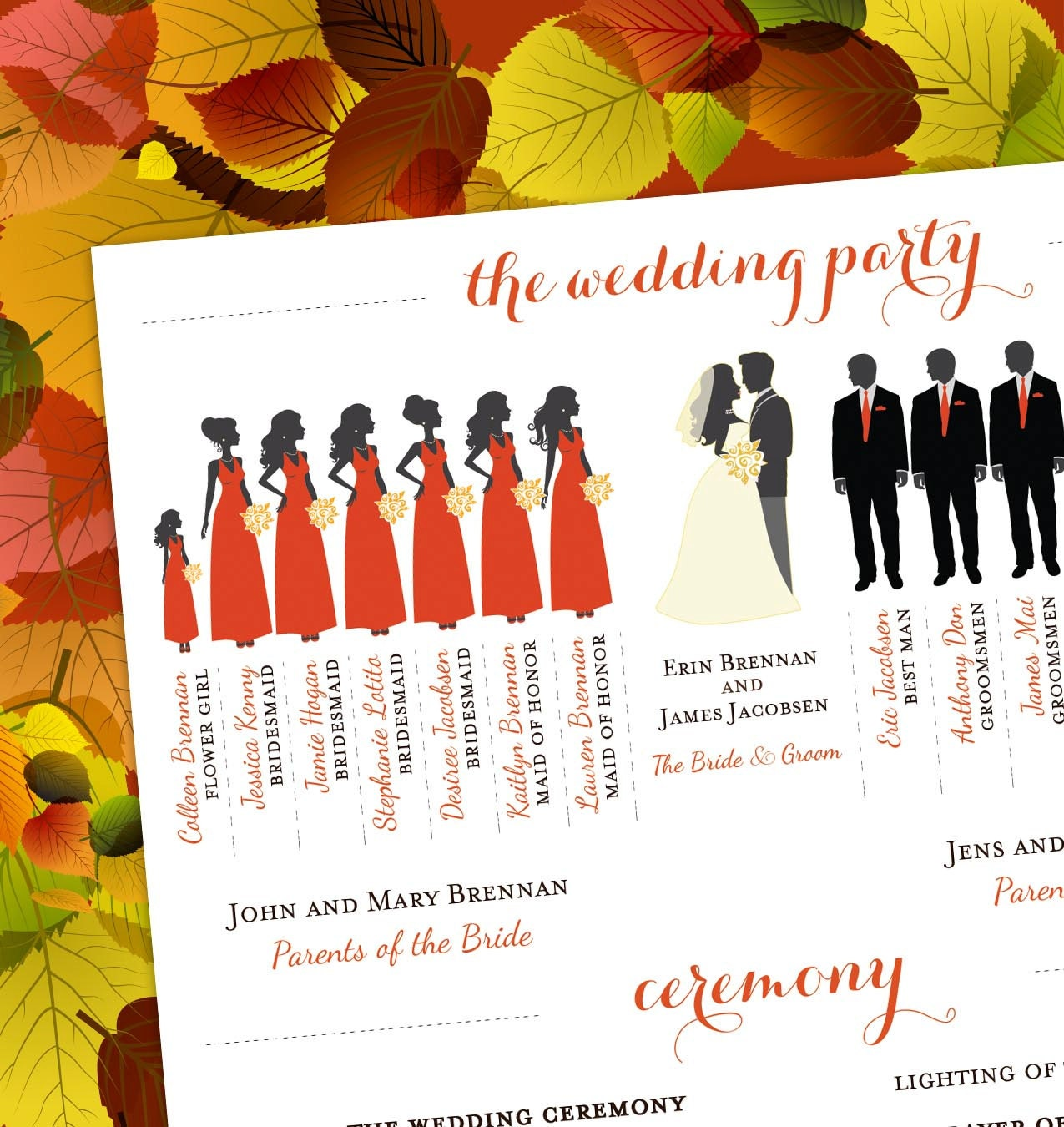 Fall Wedding Program Bridal Party Silhouettes DIGITAL FILE