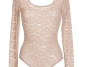 SALE - Blush Pink Lace Bodysuit // Long Sleeved Lace leotard