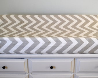 Gray and White Chevron Changing Pad Cover - Gray and White Chevron Contoured Minky Cover - Personalized Changing Pad Cover