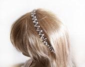 Wedding Tiara, Bridal Tiara, Pearl Tiara,  Rhinestones, Bridesmaid Headband, Flower Girl Headband, Prom Headband