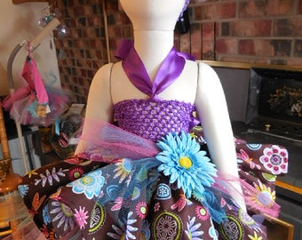 Flowers and Dragonflies Tutu Costume, Size Small