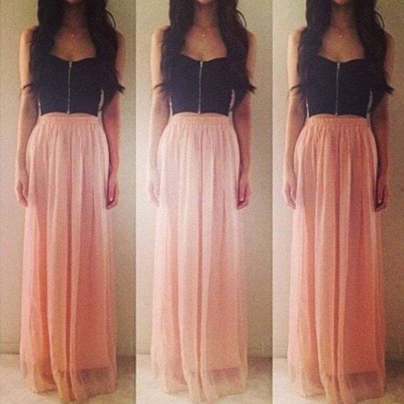 Pink nude Chiffon skirt Maxi Skirt Long Skirt pastel skirt