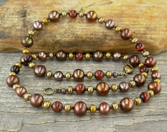 Copper Pearls and Red Tiger Eye Necklace - Beaded Copper Necklace - Small to Plus Size Necklace - 16, 18, 20, 22, 24, or 26 Inches